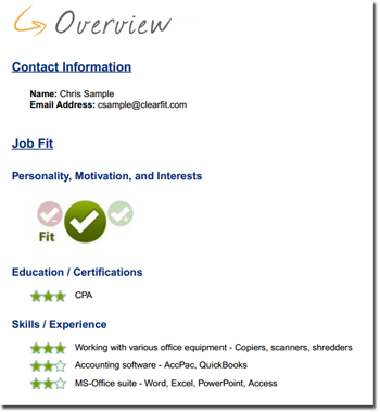 ClearFit_Applicant Report Overview Page