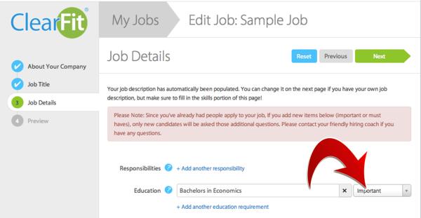 Editing already Existing Job